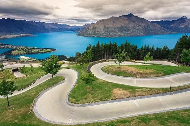 Image of the Skyline Luge track in Queenstown with Lake Wakitipu in the backdrop
